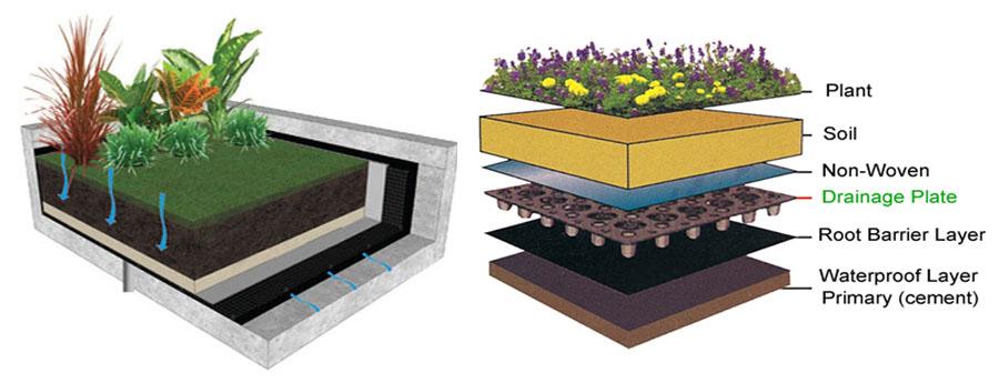 Kombinasi Nonwoven Geotextile & Drainage Cell sebagai Material Taman Atap yang Cantik